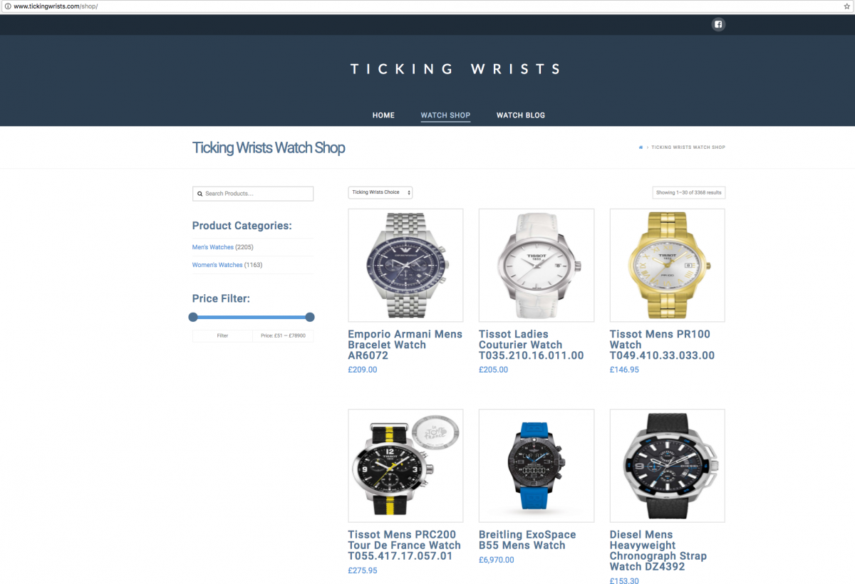 Ticking Wrists Online Shop Design